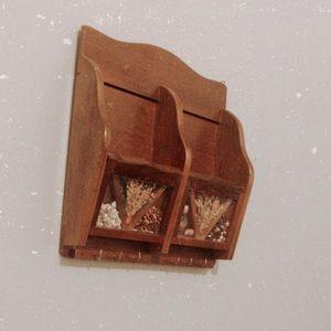 Vintage boho wall shelf with hooks